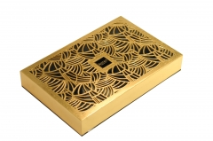 Wood engrave box laser cutting wood box gold foil wooden box
