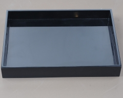 Luxury Elegant Black Wooden Lacquer Tea Serving Tray With Handles