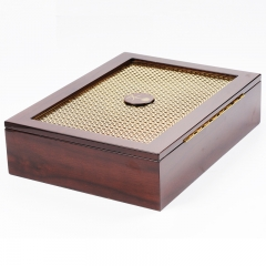 Wholesale Brown Wooden Lacquered Packaging Cigar Box With Gold Metal Sheet / Wooden Decoretion Box