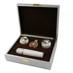 Elegant Rectamgle Gray PU Wooden Gift box/Perfume Box Wholesale