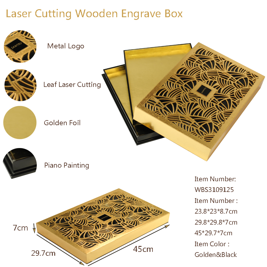 It Is A Leaf Golden Laser Cutting Box Using Ityou Can See Into The Through Pattern Your Gift Will Look Nicedecoring With Wonderful