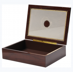 High Quality Brown Wooden Lacquered Packaging Gift Box With Gold Metal Sheet / Wooden Decoretion Box