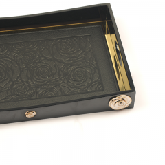 Medium Black Wooden Painting Serving Tray With Metal Rose Decoration