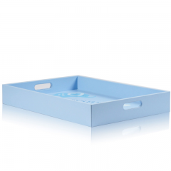 Small Baby Blue Lovely Wooden Leather Serving Trays With Handles Wholesale Wood Tray With Handles