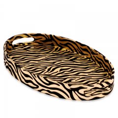 Oval PU Wooden Serving Tray Wholesale With Many Colors Such As Silver/Gold/Black/White,Ect