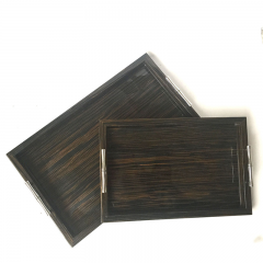 Noble Veneer Black Wooden Painting Tea Serving Tray With Metal Handles