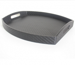 Hotel Serving Tea Serving Wooden Black  Leather Serving Trays Wholesale