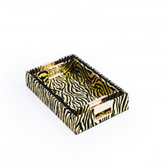 Rectangle Wholesale Decorative Wooden Zebra Leather Serving Trays With Metal Handles Wholesale