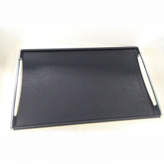 High-end Wooden Black Leather Serving Tray With Metal Handles