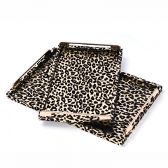 Rectangle Wholesale Decorative Wooden Leopard Leather Serving Trays With Metal Handles