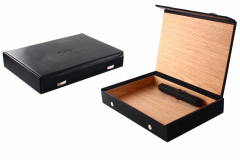 SAWTRU Black Rectangle Faux Leather Unfinished Wooden Cigar Boxes
