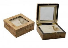 SAWTRU  High-end Wooden Painting Perfume Packaging Box with Glass Window