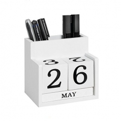 SAWTRU Wholesale Small White Painting Wooden Calendar While a Pen Container for Office