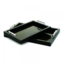 High-end Veneer Wooden Black Leather Serving Tray With Metal Handles
