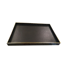 Large High-end Black Painting Wooden Leather Serving Tray With Gold Foil Decoration Wholesale Set