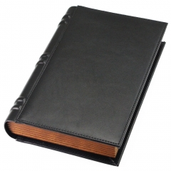 Black PU Leather Wooden Book Shape Cigar Box for Wholesale