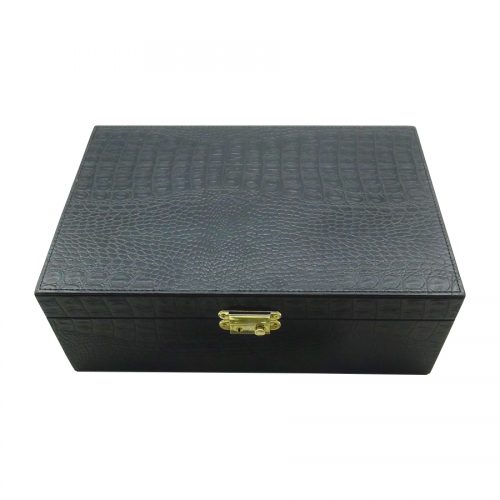 Manufacturer Luxury Faux Snakeskin Leather Wooden Cosmetic Box/Perfume packaging with EVA Inner