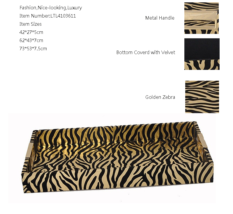 tiger pattern pu leather wooden serving tray