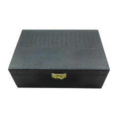 Manufacturer Luxury Faux Snakeskin Leather Wooden Perfume Box/Cosmetic packaging with EVA Inner