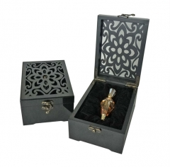 SAWTRU luxury Laser Engrave Cutting Hollow Glossy Finish Wooden Perfume Box Manufacturer for Arab