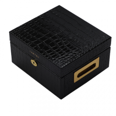 Wholesale Luxury Double Drawer Faux Snakeskin Leather Wooden Jewelry Box with Lock