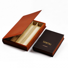 Luxury Chocolate Wooden Book Box with Gold Hot Stamping Logo