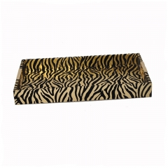 Rectangle Golden Tiger PU Wooden Seving Tray with Metal Handle