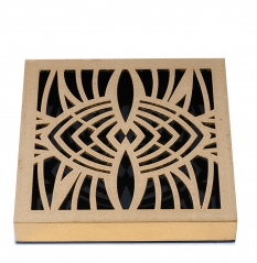 Laser Engraved Flower Pattern Wooden Golden Foil Chocolate Box