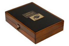 Wooden playing card box with leather top