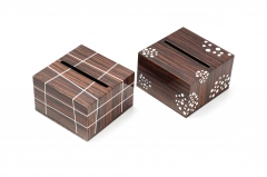 Brown Veneer Wooden Tissue Box
