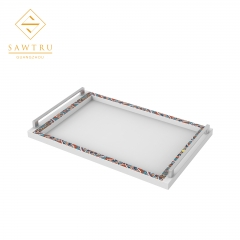 Carving Acrylic Painting woodenTray With Comfortable Handles Guangzhou Wholesale