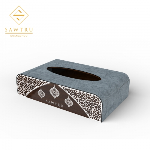 gold foil engraving Wooden Tissue Box
