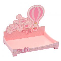 Painting Baby Wooden Serving Blue/Pink Tray With Cartoon Pattern Wholesale